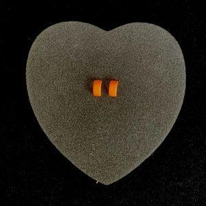 Neon Orange Half Hoop Earrings |